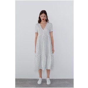 NWT Zara Polka Dot Midi Ruffled Dress
